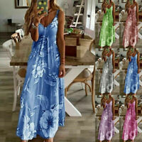 Womens Summer Strappy Holiday Floral Long Boho Kaftan Dress Beach Maxi Dresses