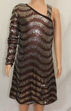 Sara Sara The Collection Bling Girls Dress Sz 7 One Shoulder Brown Sequins NWT
