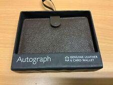 M&s Autogramm Luxus Leder 6 Karte Geldbörse braun NEU