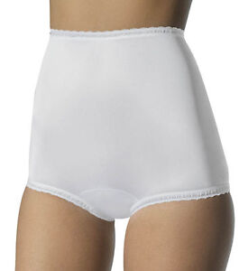 BaLI FreeForm 100% Antron III Nylon Full-Cut High-Waist White Brief Size 10/3XL