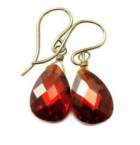 14k Gold Cubic Zirconia Earrings Sim Red Garnet CZ Sterling Faceted Pear Drops