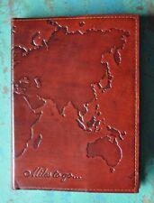 Leder Notizbuch Tagebuch Blanco 13 x 18 cm Cover geprägt Miles to go Handarbeit