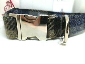 Blue & Beige  check Harris Tweed dog CLIP collar & lead set or sold separately