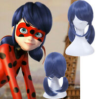 Ladybug Marinette Cosplay Wig Dark Blue Straight Ponytails Anime Hair Wigs
