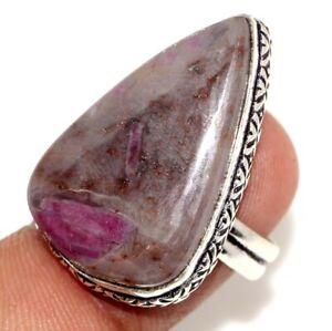 Ruby Crystal Gemstone Ethnic Handmade Ring Jewelry US Size-7.5 JW