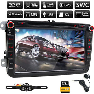 """8"""" 2DIN Car Radio DVD Player GPS Stereo for VW USB SD In Dash Head Unit Map MIC"""
