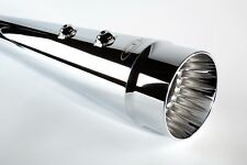 """Cary Faas CFR 4 1/2"""" Chrome Smooth Fluted Megaphone Tapered Mufflers Harley FLH"""