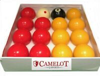 "REDS AND YELLOWS POOL BALLS 2"",1 7/8 SPOTTED WHITE BALL UK STANDARD SIZE"