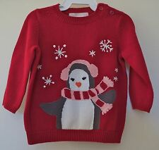 New Janie and Jack Cherish The Season Red Pullover Sweater Girl's Sz 3-6M