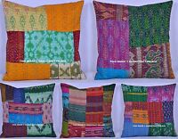 "10 PC Kantha Pillows Cushion Covers Silk Vintage Patchwork Hand Quilted 16""x16"""