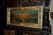 lovely old Barbizon Sunset landscape  with cows  oil  Painting