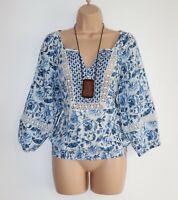 Women's Vintage H&M L.O.G.G. 3/4 Sleeve Blue Floral Cotton Blouse Size 38 / UK12