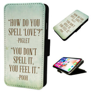 Winnie Pooh Quote - Flip Phone Case Wallet Cover - Fits Iphones & Samsung