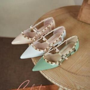 Women Patent Leather Rivets Slip On Shoes Pointed Toe Studded Flats Green Summer