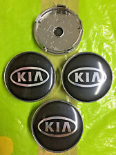 KIA Alloy Wheel Centre Cap 60mm Black/Silver Set Of 4 Emblem Badge 3D Logo