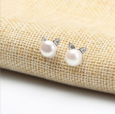 Woman Silver Plated Cute Korea Chic Pearl Cat Kitten Head Ear Stud Earrings