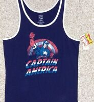 new Mens CAPTAIN AMERICA TANK TOP Navy Blue White Red Vtg Marvel Comic Book Logo
