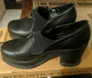 Harley Davidson 81517 Women's Size 7 1/2 Chunky Black Leather Biker Shoes Boots