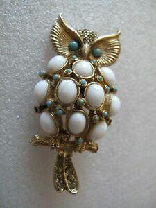 Vintage OWL Pin Brooch Signet Pauline Rader Rhinestone