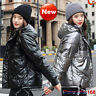 NEW Short Women Down Cotton Coat Hooded Parka Warm Jacket Puffer Shiny Winter