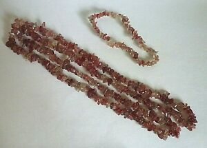 "Natural Agate Chip Bead Stretchy Bracelet 7"" and Necklace 35"" Set"