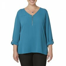 Simply Emma Teal Tunic  2XX Women's Plus Mixed MediaTeal Zip Front DipTail NEW