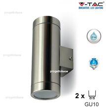 LAMPADA DA MURO APPLIQUE LED GU10 ACCIAIO INOX ESTERNO IP44 V-TAC 7507 VT-7642