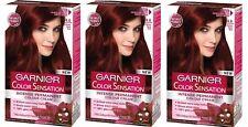 GARNIER Color Sensation Permanent Hair Colour 4.60 Intense Dark Red X3 Dyes