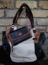 THE SAK Indio Brown Cream Patchwork Leather Hobo Shoulder Bag Purse & Zip Wallet