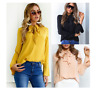 Fashion Autumn Women Casual Flare Long Sleeve T-Shirt Loose Top Lace Up Blouse