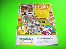 Gottlieb BIG SHOT Original 1974 Flipper CoinOp Game Pinball Machine Sales FLYER