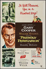 """Poster Friendly Persuasion 1956 27""""x41"""" VF 7.5 Gary Cooper Anthony Perkins"""