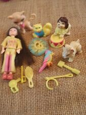 """Polly Pocket Lot """"Colors of the Rainbow"""" Doll Yellow Pets Cat Dog Accessory L35"""
