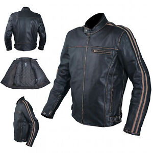 Leather Jacket Motorcycle Old Vintage Style CE Protectors Armor CE