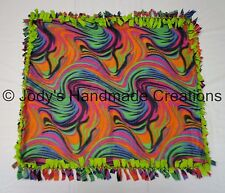 HANDMADE MINI BABY / PET FLEECE TIED SECURITY BLANKET - RAINBOW SWIRL  25 X 29