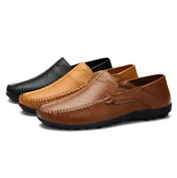 New Men Driving Casual Boat Shoes Leather Flat Shoes Moccasin Slip On Loafers