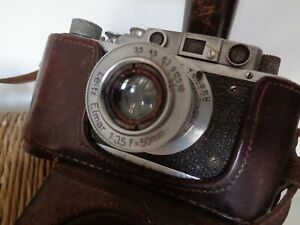 Leica Film camera, rangefinder Lens Elmar f3.5/50mm, Vintage WWII(Fed Copy)