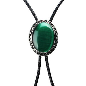 Bolo Tie Natural Blackish Green Opal Cowboy Round Large Stone Leather Tie
