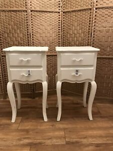 Pair Of Brissi Of London Gloria Two Drawer Bedside Tables, White- Can Deliver