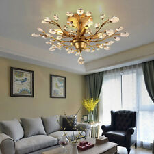 5lights Vintage Crystal Flush Mount Chandelier Ceiling Light Tree Leaf Shape US
