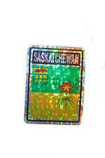 SASKATCHEWAN CANADA PROVINCIAL FLAG  SQUARE METALLIC BUMPER STICKER 4 X 3 INCH