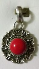 Sterling Silver 925 Blackened & Red Coral Pendant