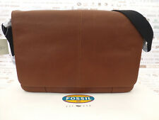 Fossil Slim Messenger Bag Mayfair Cognac Leather Flap Shoulder Bags