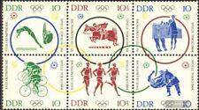 DDR 1039-1044 bloc de six (édition complète) neuf 1964 Jeux Olympiques