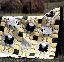 COUNTING SHEEP & FLOWERS PATCHWORK & STRIP VINTAGE QUILT PATTERN