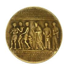 Antique 1914 French Bronze Art Medal Reims Cathedral Smiling  Angel Yencesse