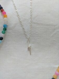 Lightning Bolt Necklace Silver charm pendant necklace Gift idea FREE POSTAGE
