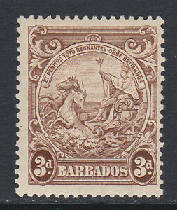BARBADOS 1938-47 3d WITH 'VERTICAL LINE OVER HORSE'S HEAD' SG 252a MINT.