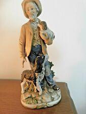 """Vintage Homco Home Interior #8811 Harvest Time Figure Porcelain Man Dogs 11"""""""