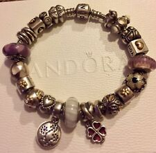 Genuine Pandora Bracelet with 21 Authentic Charms - including Gold & Silver